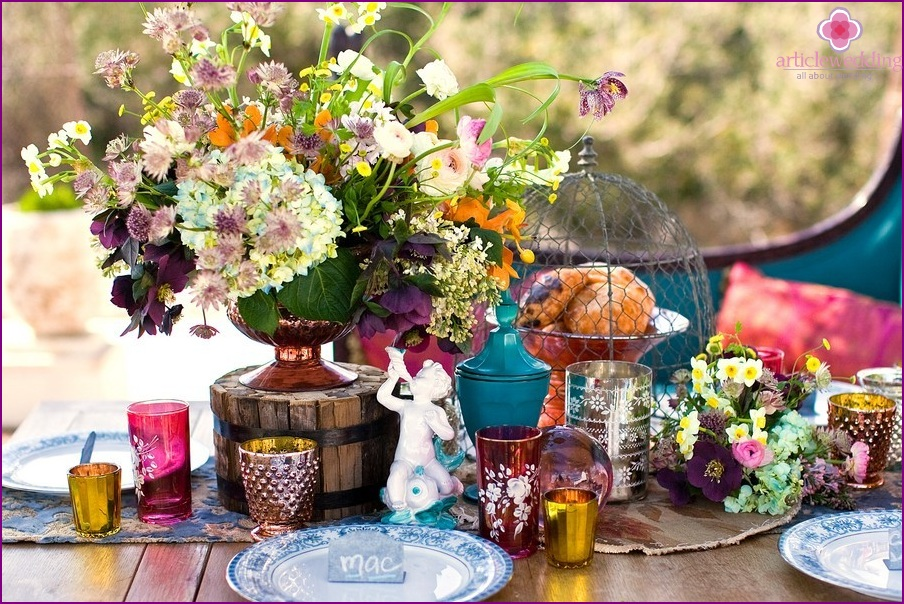 Decor table in the style of boho