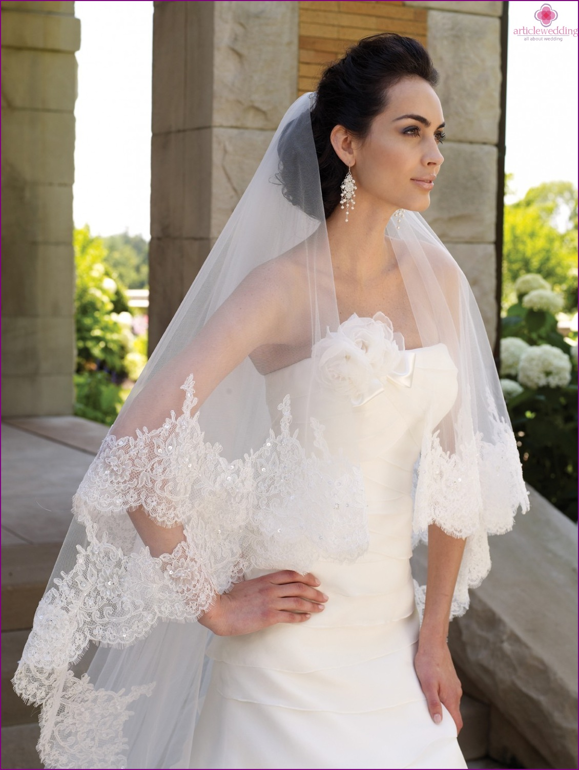 Long veil for the bride