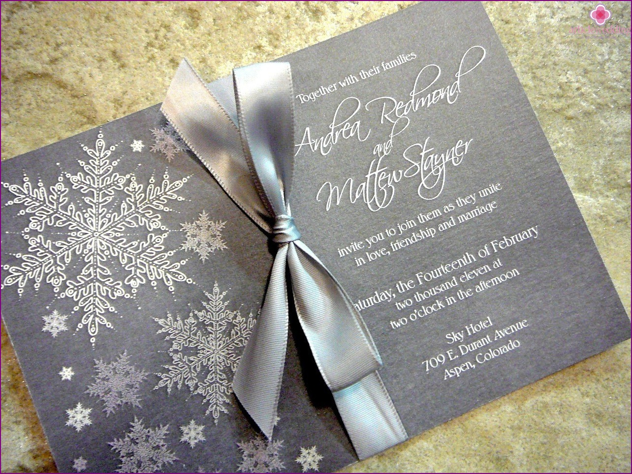 Invitation for a winter wedding