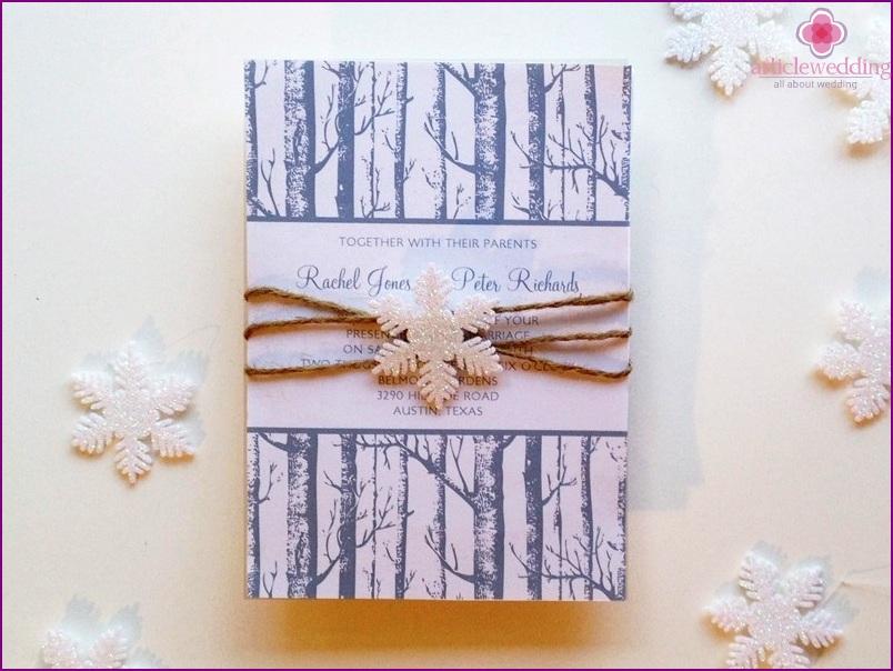 Invitation for a winter wedding