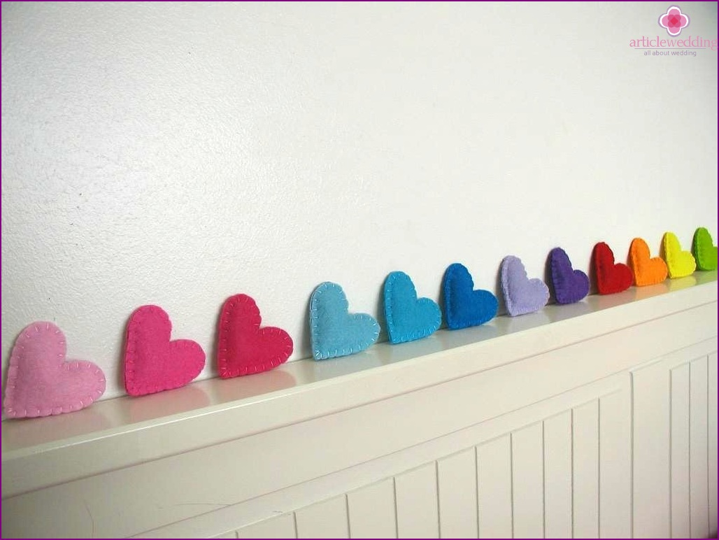 Multicolored Felt heart