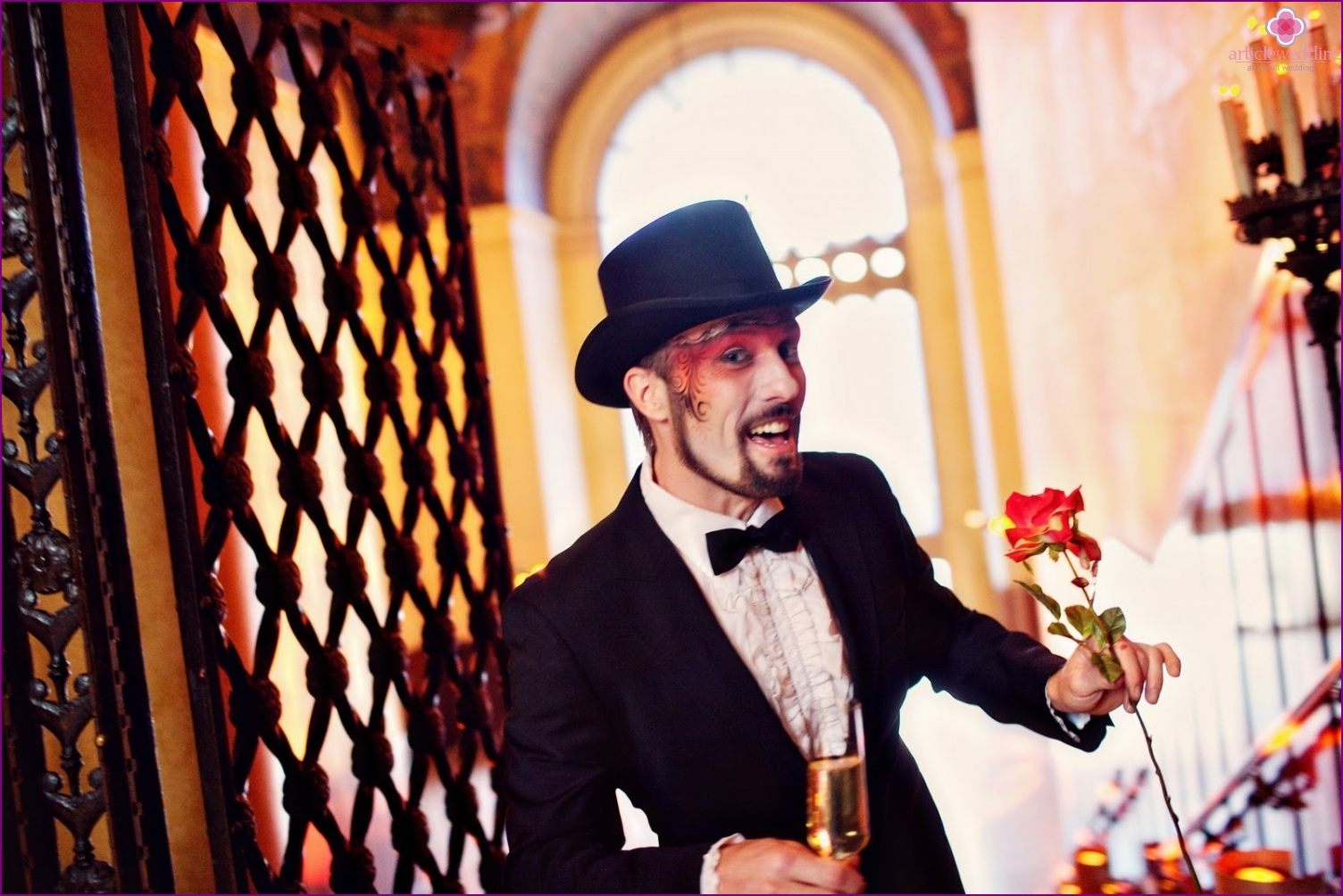 The groom in a Moulin Rouge style