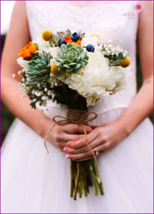 Bouquet with blueberries