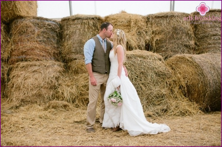 Newlyweds in country style
