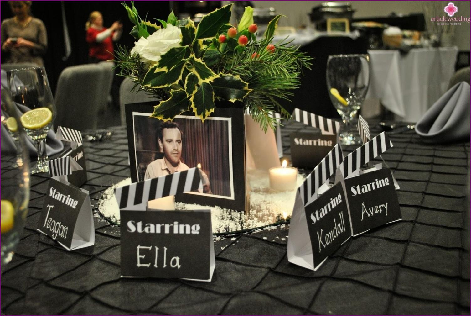 wedding decor in Hollywood style