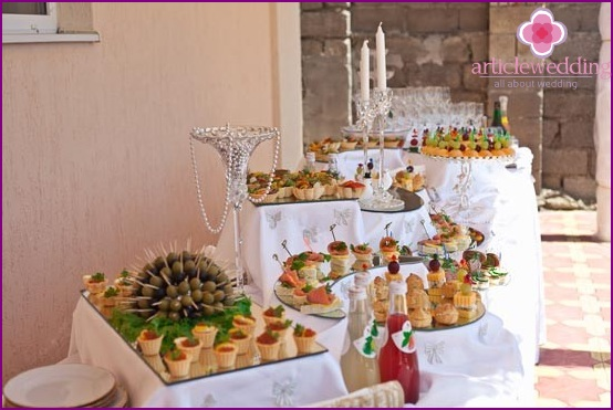 Multilevel buffet tables at a wedding