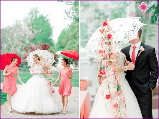 Lace umbrella in the form of a bride