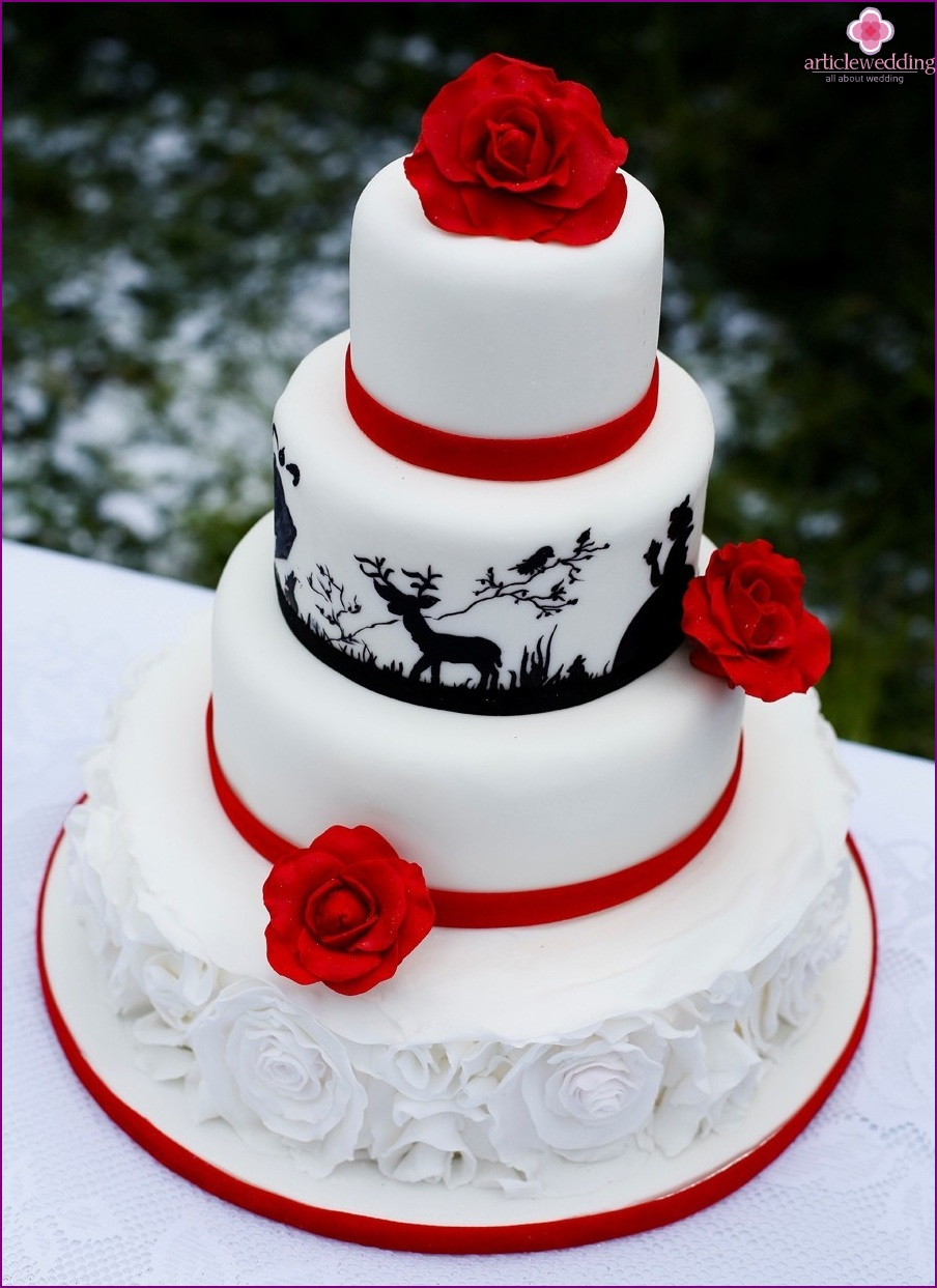 "Wedding cake in the style of ""Snow White and the Seven Dwarfs"""