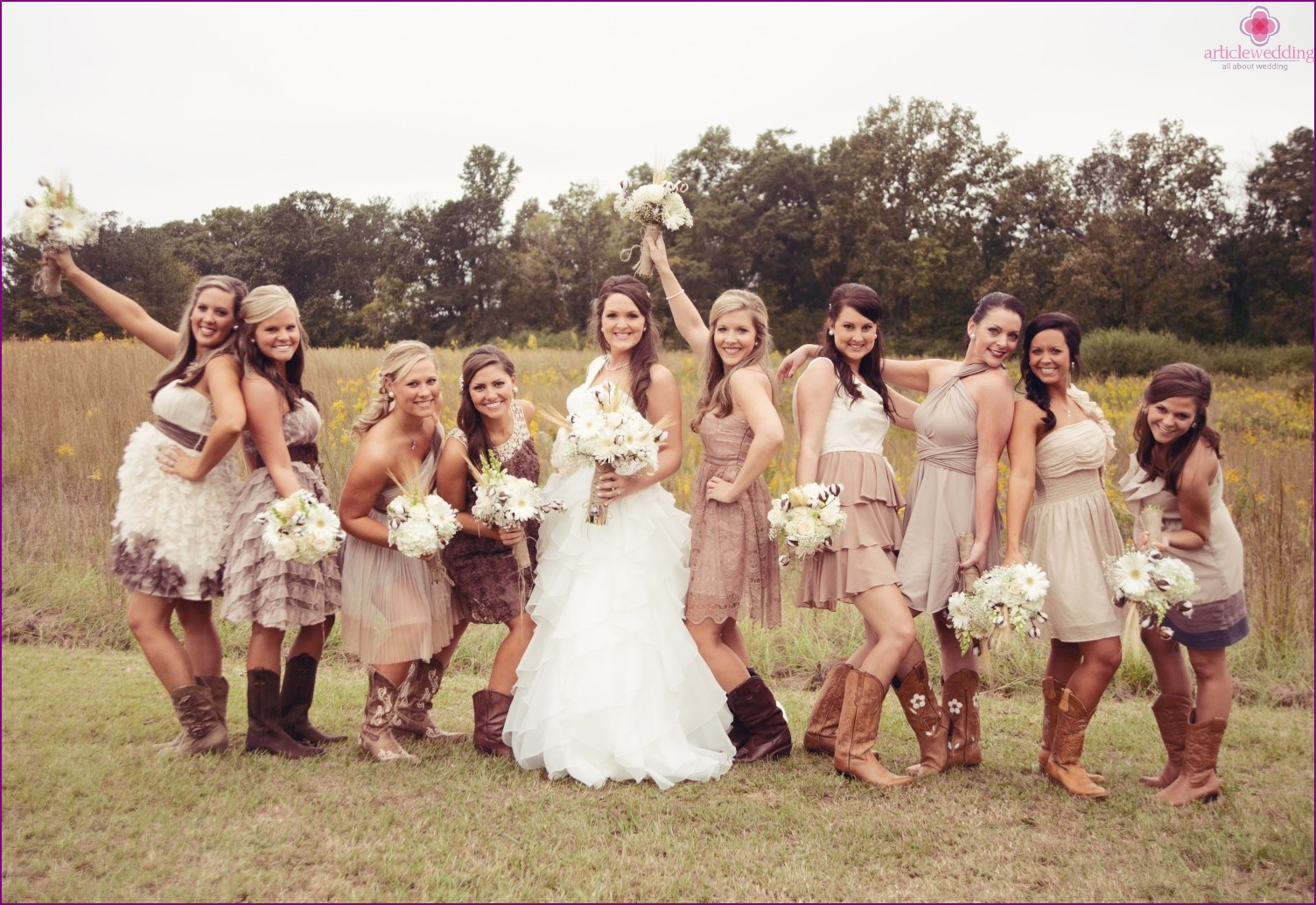 The bride and her bridesmaids Rustic