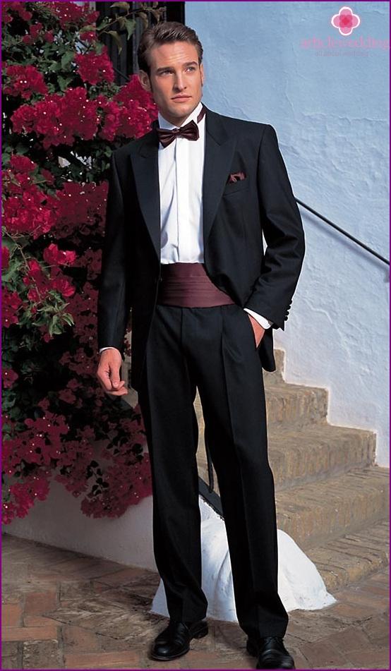 The groom in a tuxedo