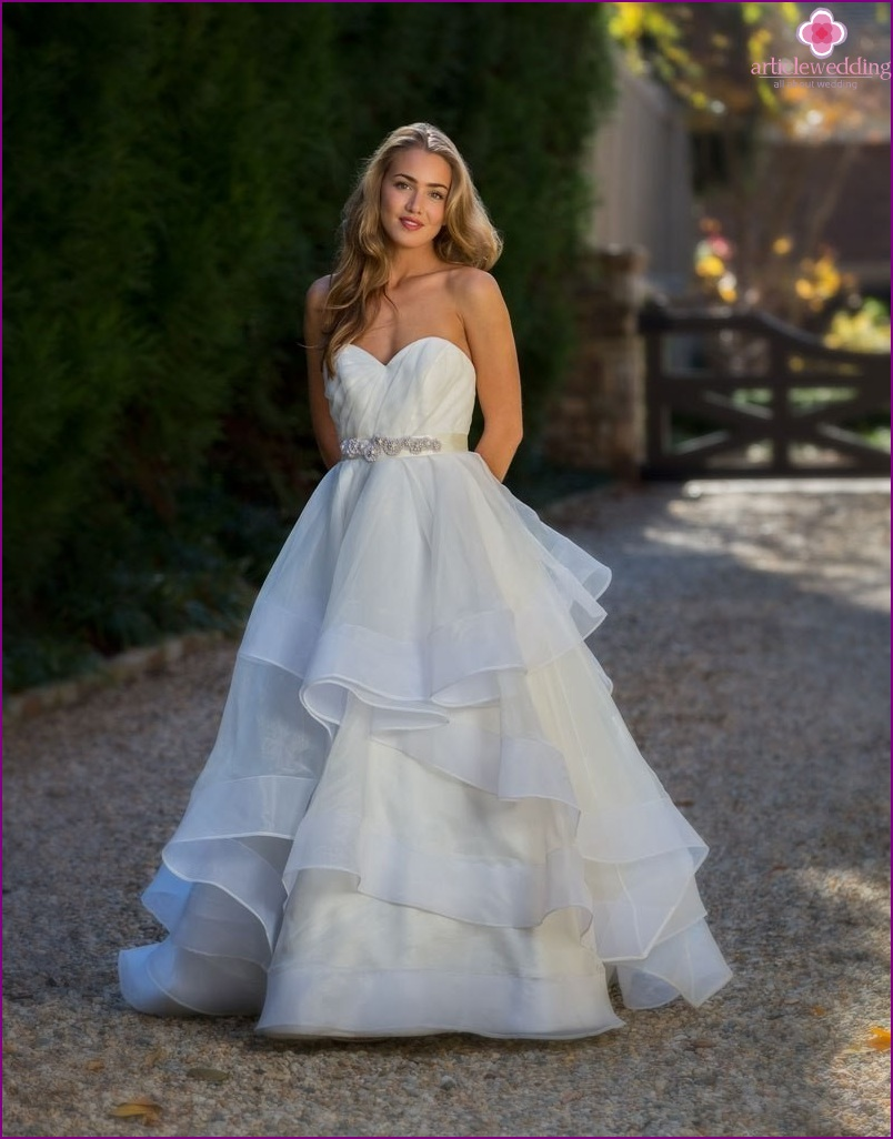 Wedding dress with a touch of blue