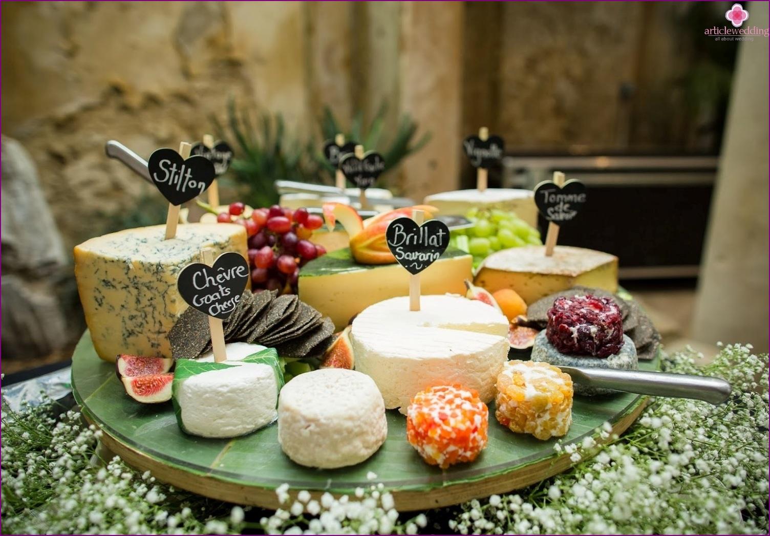 Cheese bar at a wedding