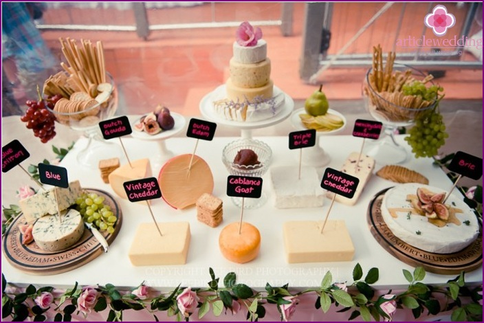 Cheese table at a wedding