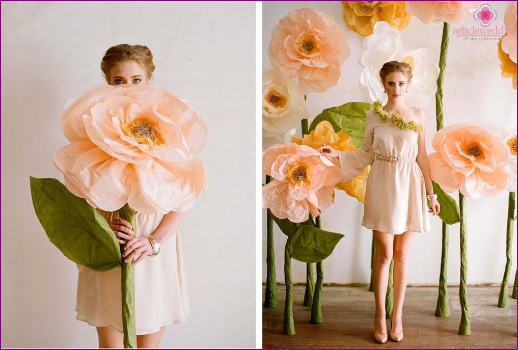 Paper flowers for the bride