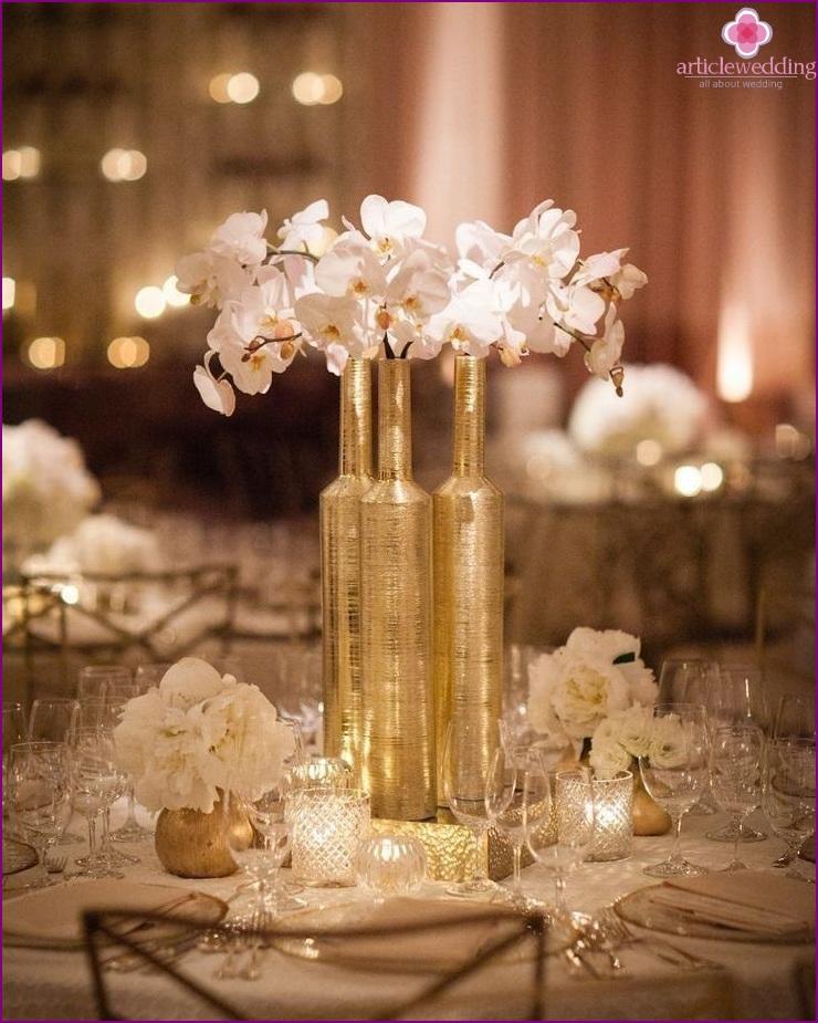 Bruiloft in goud kleur glamour en luxe - Decoratie van de villas ...