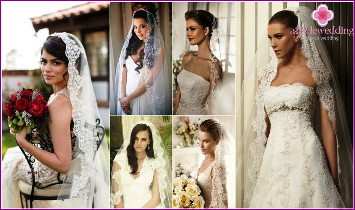 Hairstyles with lace veil