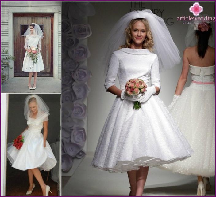 Retro image of a rather short headdress bride