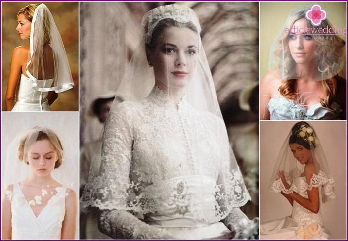 Single-layer veil bride shortened
