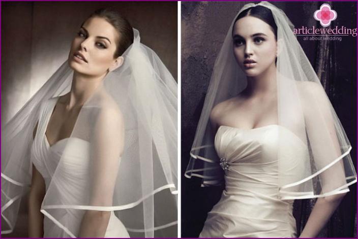 The veil with satin ribbon sewn bride