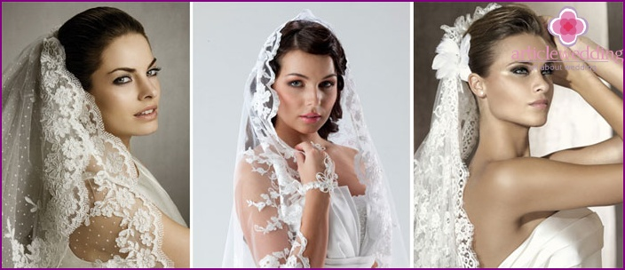 Openwork lace headdress for the bride