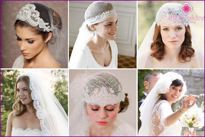 Modern bridal veil with lace