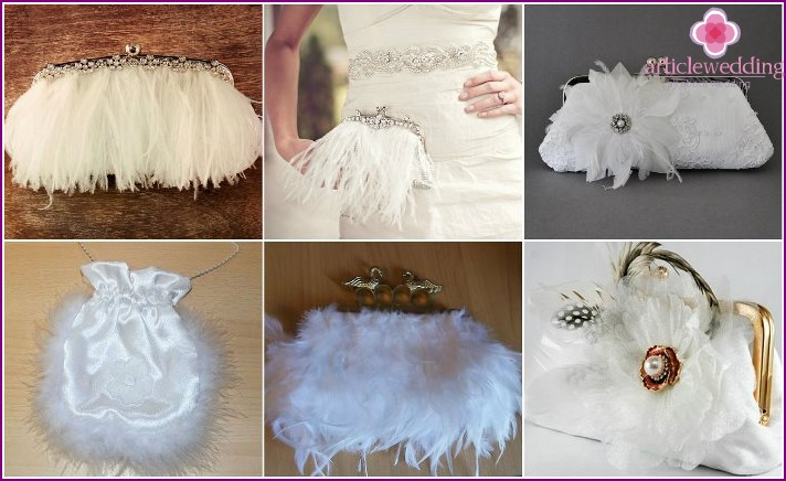 Decorating bags bride's feathers