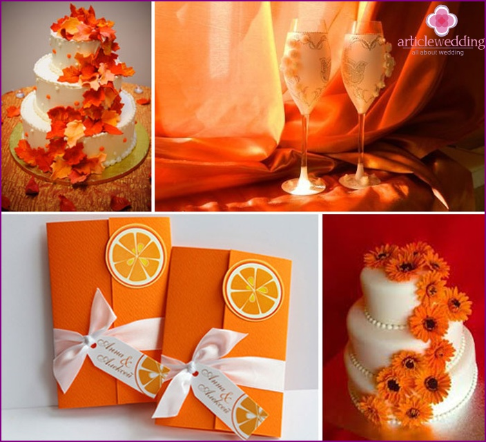 Orange accessories and veil the bride