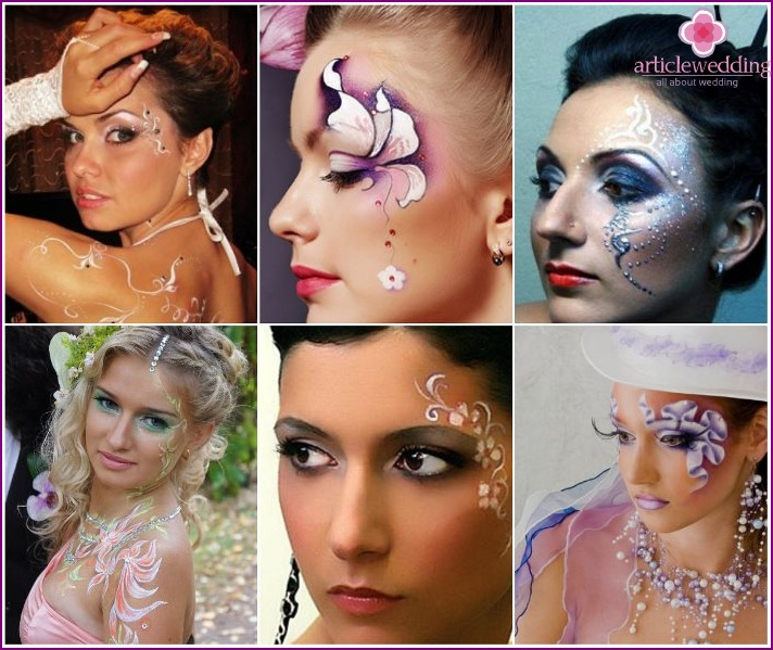 Wedding body painting - an unusual make-up for the bride