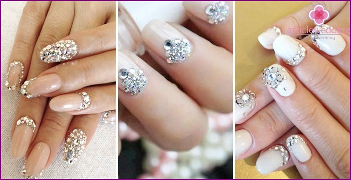 Decorate your nails for a wedding with Swarovski crystals