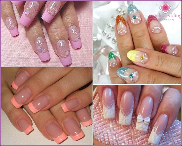 Wedding manicure with a decor