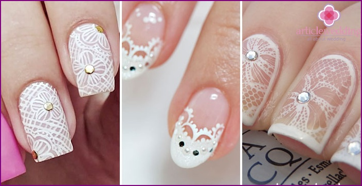 Lacy pattern with rhinestones: Wedding nail coating