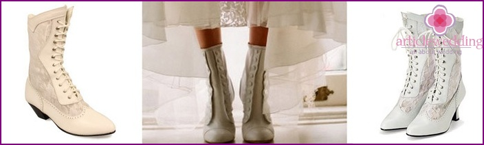 White boots in Victorian style