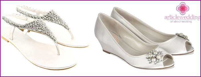 Advantages of bridal shoes on a low-soled