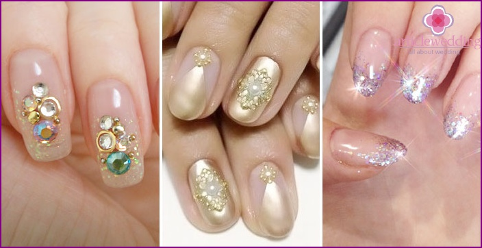 Photo coverage nail crystals on wedding