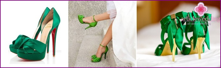 Green satin wedding shoes