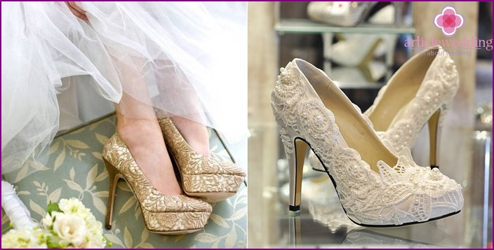Cream lace shoes