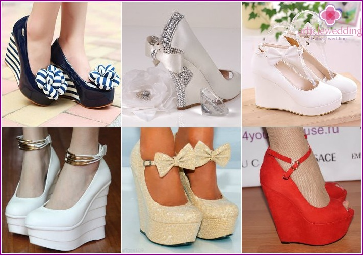 Wedge-heeled shoes for the bride