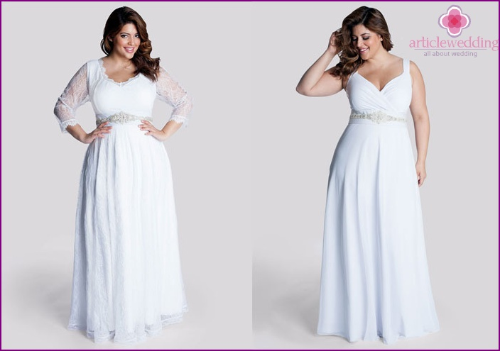 Wedding Dress with a belt under the breast