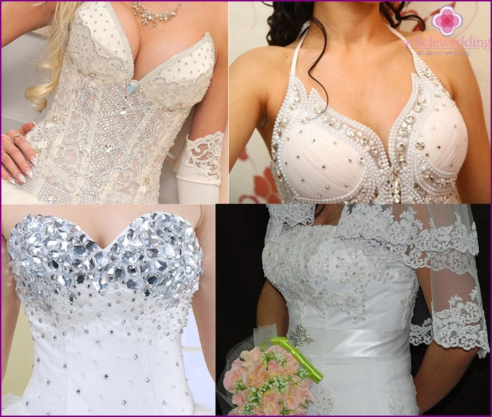 Shiny pattern on the bride