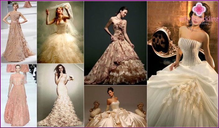 Fashion beige wedding dresses 2015