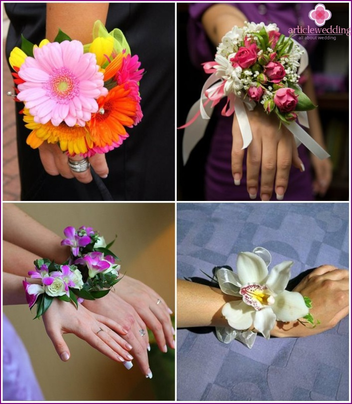 The bracelet on the wrist of the bride of flowers