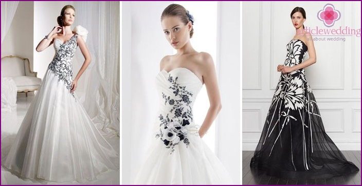 Black and white wedding dresses model 2015 and the related black flowers on a white wedding dress mightylinksfo