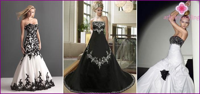 sort hvid brudekjole