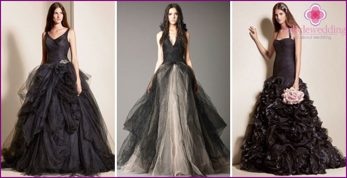 Vestidos de negro de la boda de Vera Wang y accesorios a ella - fotos