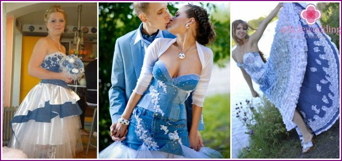 Denim wedding dress with lace