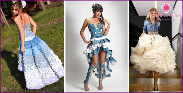 Denim bride clothes with flounces and ruffles