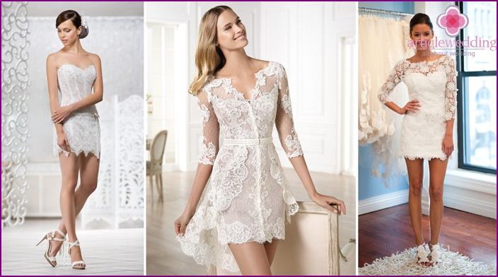Lace mini dress for the bride