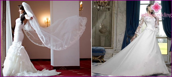 The bride's dress with a train