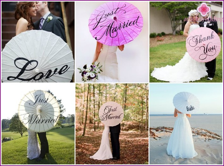 Umbrellas for a wedding with inscriptions