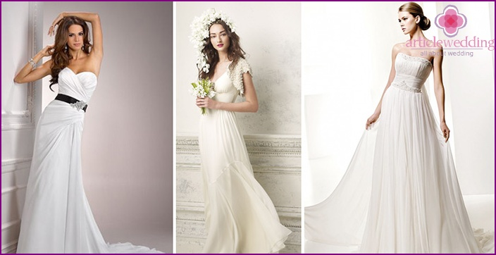 Simple wedding model with flowing skirt